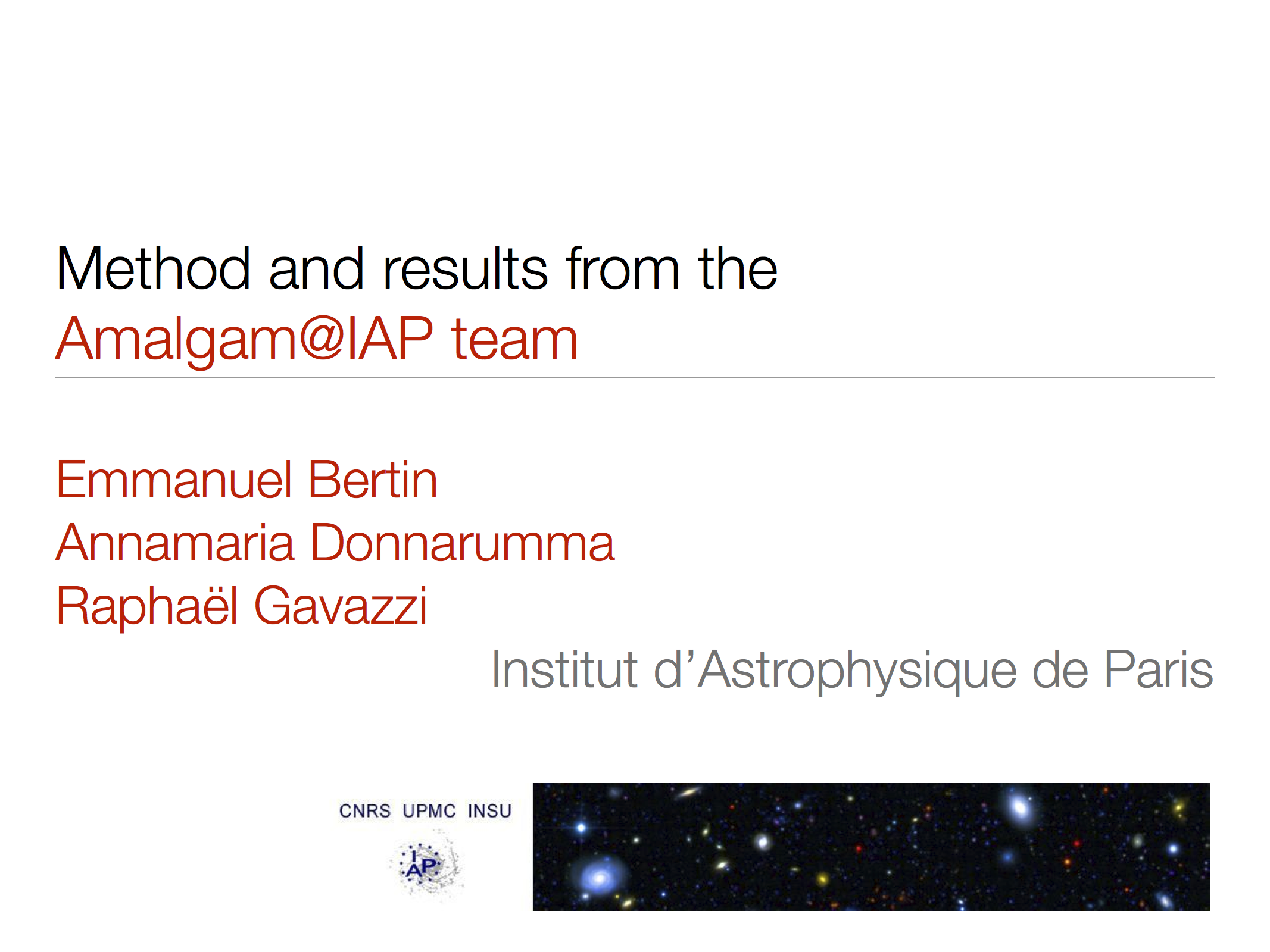 First slide of our talk at the Great3 final meeting