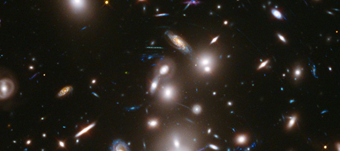 A composite Hubble Space Telescope image of massive galaxy cluster Abell 2744.  Image credit: NASA/ESA/J. Lotz, M. Mountain, A. Koekemoer, and the HFF Team (STScI)